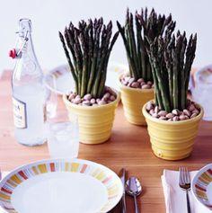 Espárragos y pistachos