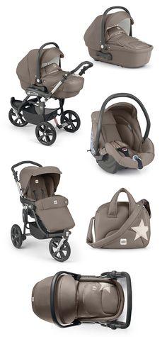 Cam Kinderwagen Cortina X3 Tris Evolution braun by CAMSPA Italy für Baby und Kind