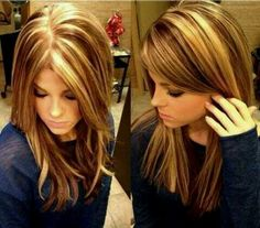 Medium brown hair, blonde highlights and lowlights