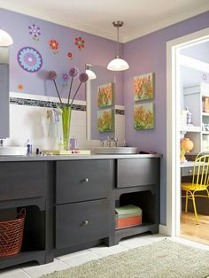 Eclectic Bathroom Recycled Bathroom Design, Pictures, Remodel, Decor and Ideas - page 13 Decor, Kid Bathroom Decor, Purple Bathrooms, Home Decor, Bathroom Kids, Kids Bathroom Design, Bathroom Renovations, Modern Style Decor, Bathroom Design