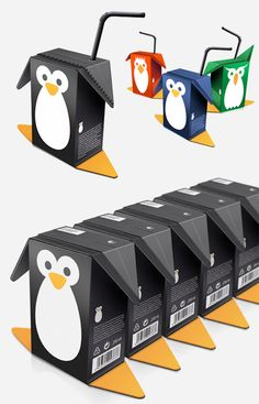 Penguin inspired juice packaging designed by Mats Ottdal for Birdy Juice.