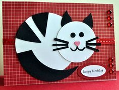 Its a Rosie! by melbourne robyn – Cards and Paper Crafts at Splitcoaststampers - kids cards Paper Punch Art, Punch Art Cards, Cat Cards, Kids Cards, Circle Crafts, Kids Birthday Cards, Diy Birthday, Happy Birthday, Birthday Kitty