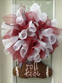 Items similar to Crimson Alabama Football Spiral Wreath/ Optional Burlap Hand Painted Football Attached at the Bottom on Etsy Alabama Decor, Alabama Crafts, Sweet Home Alabama, Alabama Football Wreath, Alabama Wreaths, Festival Decorations, Christmas Decorations, Auburn Colors, Bama Fever