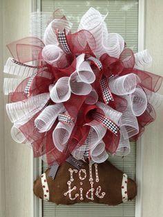Crimson Alabama Football Spiral Wreath