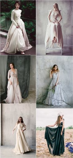 Vintage Bohemian Wedding Dresses / http://www.deerpearlflowers.com/unique-sophisticated-wedding-dresses-from-cathy-telle/