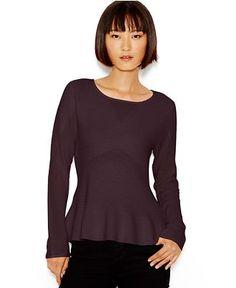 Bar III Long-Sleeve Peplum Sweater, Only at Macy's - Sweaters - Women - Macy's