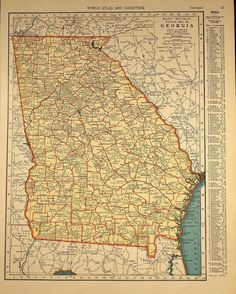 Georgia Vintage Map Of Georgia A Fun And Funky Little Vintage - Map 0f georgia