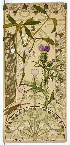 Le Chardon dans l'Art Nouveau - Riom - Etudes de fleurs - Gui et Chardons - 1890