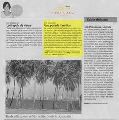 Reseña de la Posada Narhuaca por Valentina Quintero, publicada en el suplemento dominical de El Nacional el 13/01/2013