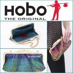 """Rare HOBO Hayward Clutch - Iridescent Stripe Brand new HOBO Hayward Leather Clutch with detachable chain for multiple looks. Really pretty color! Drop in triple chain handle. Fits most smartphones. Kiss-lock frame closure. Exterior features pleated detail. Interior features zip and wall pockets, currency pocket, and 6 card slots. 4.5"""" H x 9"""" W x 6.5"""" D. 7"""" handle drop. Genuine leather exterior, textile lining. No trades. HOBO Bags Clutches & Wristlets"""