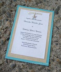 Simple Beach Theme Wedding Invitations