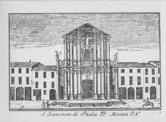 """Chiesa di S. Francesco di Paola, via Manzoni, Milano. Marc'Antonio Dal Re, """"Vedute di Milano"""", incisione 81 (ca. 1745)."""