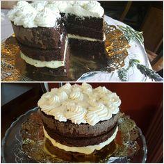 Brownie amb ganache xocolata blanca i nata de vailnilla.