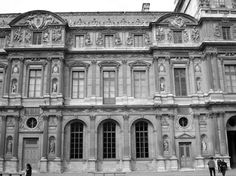 "06- Lescot Wing, 1546-1551, The Square Court of the Louvre, Paris, by Lescot. The ""Lescot Wing"" is the oldest portion existing above ground level of the Louvre Palace. The mediaeval features were replaced with Italian Mannerism, though the rectangular pavilions  reflecting the mediaeval French traditional forms."