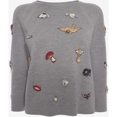 Alexander McQueen Crew Neck Jumper (16,970 EGP) ❤ liked on Polyvore featuring tops, sweaters, grey marl, jumpers sweaters, gray crew neck sweater, grey jumper, alexander mcqueen sweater and grey crewneck sweater
