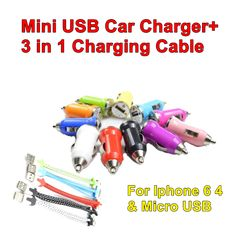 Mini Car Charger + 3 in1 Cable For Micro USB