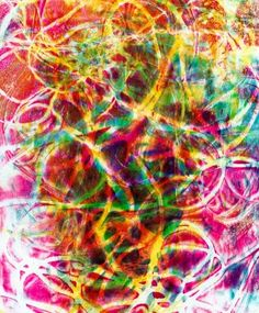 "Jane Davies - Gelli print ""String Theory""  Monoprint Collage Online"