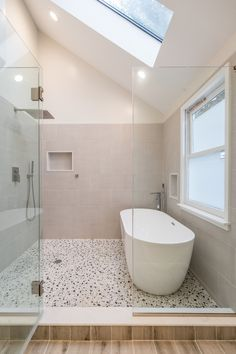 """Bathtub, walk in shower, or both? These renovators went with the latter and designed a wet-room for the ultimate relaxation experience 😍 """"Our general contractor did a great job turning our vision into a reality,"""" Alice shared. Wet Room Bathroom, Wet Room Shower, Small Bathroom, Bathtub In Shower, Bathroom Ideas, Remodled Bathrooms, Bathroom Updates, Bathroom Layout, Bath Tub"""