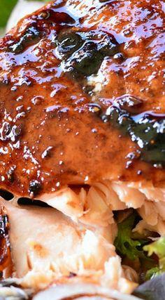Strawberry Balsamic Glazed Salmon Salad
