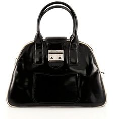 Pre-Owned Miu Miu Double Zip Lock Dome Satchel Patent Large ($460) ❤ liked on Polyvore featuring bags, handbags, black, structured purse, kiss-lock handbags, structured handbags, satchel purses and dome purse