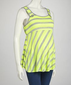Loving this QT Maternity Neon & Gray Stripe Maternity Tank - Women on #zulily! #zulilyfinds
