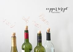 House of Earnest copper script wine corks- love this!
