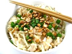 Skinnyfied Chicken Pad Thai! Don't be surprised if it becomes one of your most requested Asian dishes to make. Each serving, 360 calories, 5 grams fat & 10 Weight Watchers POINTS PLUS. http://www.skinnykitchen.com/recipes/skinnyfied-chicken-pad-thai/