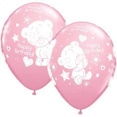 """Super søde balloner til pigernes børnefødselsdag. Ballonerne er i fin lyserød farve, og har tryk med bamser og teksten """"Happy birthday"""" #balloner #ballon #lyserød #bamser #børnefødselsdag"""