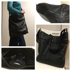 Sac Flo cousu par Céline en simili dragon noir - patron couture http://sacotin.com/boutique/patron-sac-flo/