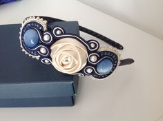 Blue Headband Soutache Embroidered Hand Made. I love the combination of a ribbon rose, soutache and pearls!
