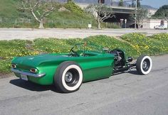 The above green car. looks like a new idea in rat rods, take a newer than 1960 vehicle and made a rat rod from it by getting rid of all the body work forward of the firewall. This one looks like a Buick, but I can't recall the model Weird Cars, Cool Cars, Strange Cars, Rat Rods, Classic Hot Rod, Classic Cars, My Dream Car, Dream Cars, Vintage Cars