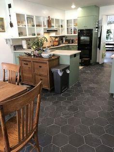 "Brazillian Black 8"" Hexagon Tile Slate Floor Kitchen, Kitchen Flooring, Black Slate Floor, Dark Kitchen Floors, Bathroom Flooring, Kitchen Tiles Design, Kitchen Layout, Slate Flooring, Slate Tiles"