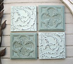 Group of 4 Vintage Tin Ceiling Tiles. by DriveInService on Etsy