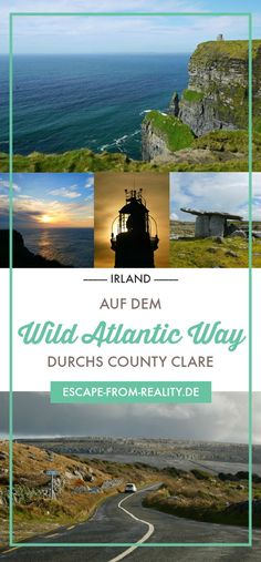 Ein Roadtrip auf dem Wild Atlantic Way, das bedeutet über 2.600 Kilometer wilde Schönheit entlang Irlands Westküste. Aber auch Teilstrecken lohnen sich – zum Beispiel der Abschnitt, der durchs County Clare führt und dabei einige außergewöhnliche Landschaften und Sehenswürdigkeiten Irlands passiert. Wie die Cliffs of Moher, die zu den Wahrzeichen der Grünen Insel gehören, oder die karge Mondlandschaft des Burren Nationalparks, den Loop Head Drive oder die Kilkee Cliffs. #irland…