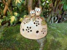 Gartendekoration - Kuppel Windlicht Lichthäuschen Gartenkeramik Eule - ein Designerstück von Terra-Cottage bei DaWanda