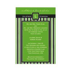 Modern Bright Green Black White Stripes Weddings by dmboyce