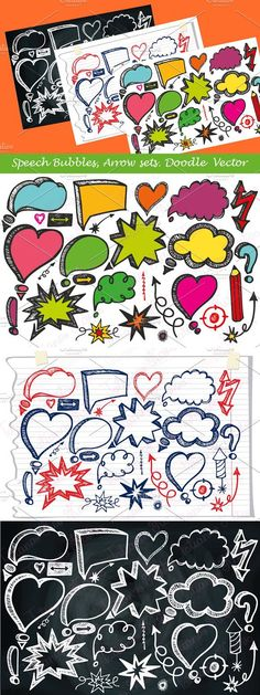 Doodle hand drawing vector Speech Bubbles and arrow set.Drawn by hand, scanned, gentle trace in Illustrator and love offered here for you! Photoshop Shapes, Chalkboard Background, Black And White Portraits, Note Paper, Storyboard, Arrows, How To Draw Hands, Bubbles, Doodles