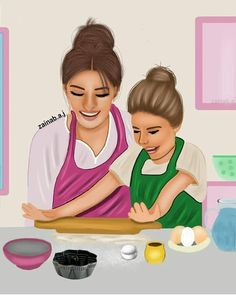 Me and ammi 😍 Mother Daughter Art, Mother Art, Mother And Child, I Love Mom, Mothers Love, Mom And Dad, Best Friend Drawings, Girly Drawings, Drawing Pictures For Kids