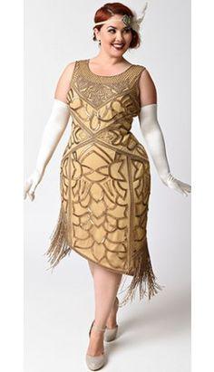 Unique Vintage Plus Size 1920s Style Antique Gold Sequin Gilda Flapper