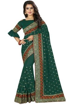Shop pine green art silk designer party wear saree , freeshipping all over the world , Item code New Saree Designs, Green Suit, Embroidery Saree, Green Saree, Work Sarees, Latest Sarees, Party Wear Sarees, Sarees Online, Green Colors