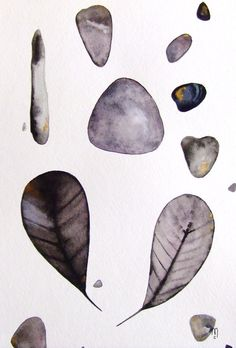 Feathers Stones Pebble Nature Original Painting Watercolor Ink Grey White Black Gold Contemporary Art Drawing Home Leaf Art Still Life