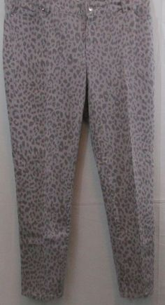 Queen Collection Plus Size Gray or Grey  Animal Print Denim Pants or Jeans 16 #QueenCollection #CasualPants