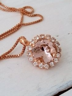 Rose gold Blush pink necklace   Blush crystal necklace by EldorTinaJewelry   http://etsy.me/21F4xKG