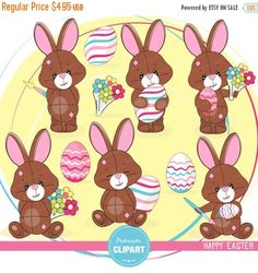 70% OFF SALE Easter bunny clipart, Easter clipart, Easter clip art, cute Easter clipart - CA339 by PremiumClipart on Etsy