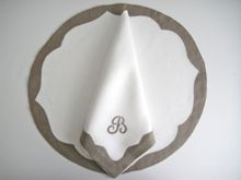 Julia B. Paris Placemat and Napkin in white linen with coffee linen trim