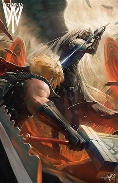 Cloud strife and sephiroth final fantasy vii remake, final fantasy cloud, final fantasy artwork Final Fantasy Xv, Fantasy Magic, Final Fantasy Artwork, Final Fantasy Characters, Fantasy Series, Fantasy World, Chibi, Tomb Raiders, Fanart