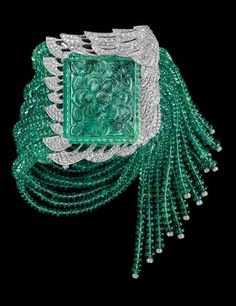 Cartier - Bracelet with 77.3-carat carved emerald, emerald beads and diamonds