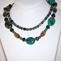 Handmade Turquoise and Smoky Quartz by MixedMediaDesigns1 on Etsy, $189.00