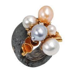 "Lotus Arts de Vivre Baroque Pearl, 18k Gold & Hematite ""Bubbles"" Ring Jewelry Crafts, Jewelry Art, Jewelery, Jewelry Necklaces, Unique Jewelry, Pearl Jewelry, Pearl Rings, Lotus Art, Love Ring"