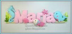 Sea themed felt name banner Handmade by Gracinhas Artesanato